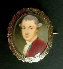 More details for 18thc portrait miniature of a gentleman set in an engraved gold brooch mount