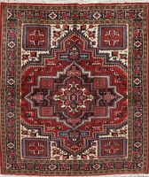 Traditional Oriental Heriz Area Rug Wool Hand-Knotted Geometric 5 x 6 Carpet RED