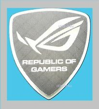 Republic Of Gamers Silver ROG Metallic Stickers Chrome 7 vinyl 10 8 Windows UK
