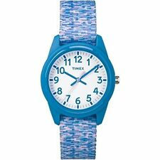 Kids Timex Time Teacher Light Blue Nylon Fabric Band Watch TW7C12100