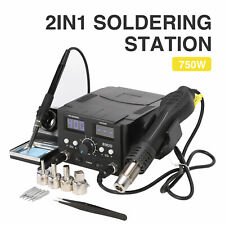 2 in 1 750W Soldering Iron Station Hot Air Gun Desoldering Rework Digital Solder