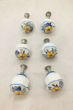 Vintage Sherle Wagner Bathroom Fixture Drawer Pulls Knobs Blue Mums Set of 6