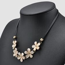 Fashion Women Crystal Flower Charm Choker Bib  Chunky Statement Chain Necklace