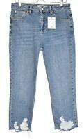 Topshop STRAIGHT LEG High Rise Blue Ripped Raw Hem CROP Jeans SIze 14 W32 L30