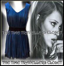 BNWT Kate Moss Topshop Blue Soft Wool Blend Tiered Jersey Skater Dress UK 8 10