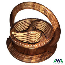 Dry Fruit Basket Wooden Handmade Collapsible Antique with Folding Trivet