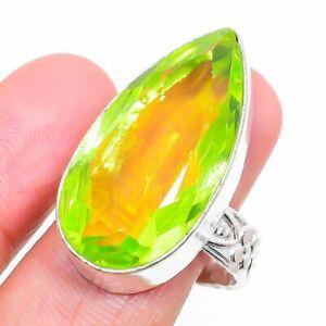 Peridot Gemstone Handmade Ethnic 925 Sterling Silver Jewelry Ring Size 9 a132