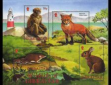 Wildlife souvenir sheet 2002 Gibraltar #912a Red fox, Macaque, Shrew, Rabbit