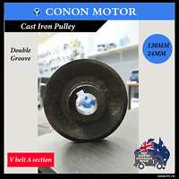 Dooble groove Pulley 120mm shaft size 24mm for electric motor Cast Iron Made