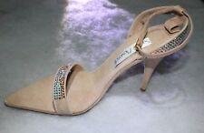 NIB Santini Mavardi Miami Nude Suede pumps sandals Shoes 37 7 5 heels open toe b