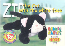 TY Beanie Babies BBOC Card - Series 1 Common - ZIG the Cat (white face) -NM/Mint
