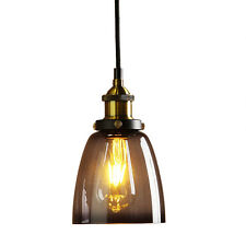 Vintage Industrial Metal Finish Black Gray Glass Shade Retro Ceiling Light I1M1