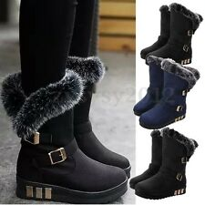 Women's Mid Calf Boots Tassel Fur Lined Pull On Warm Snow Boots Riding Boots Sz