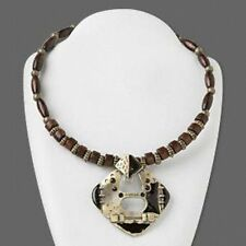 Antiqued Black Enamel Pewter Pendant & Wood Choker Necklace