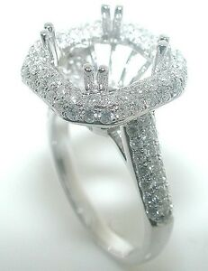 1.25 Ct. HALO SQUARE RADIANT DIAMOND Mounting RING Setting 14K White Gold