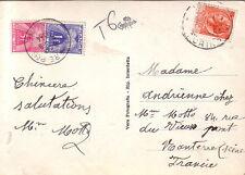 ITALIE - TURIN - TAXE GERBE 5F +1F - CACHET DE NANTERRE LE 8-8-1954.