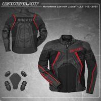 Ducati Motorcycle motorbike racing leather plus textile jacket  LLJ-012
