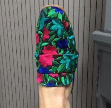 Free People At Ease Brocade Slip On Loafer Mule Floral Multi Color 7.5
