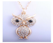 Owl Necklace With Swarovski Elements Statement Costume Jewellery UK Free P+P NEW