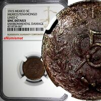 Mexico-Revolutionary Tenancingo Copper 1915 5 Centavos NGC UNC DET. KM# 689.1
