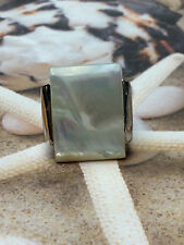 GENUINE MOTHER OF PEARL  BEAUTIFUL BIG WHITE STONE  WOMEN'S  SILVER RING  size 8