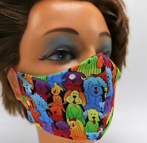 Men's Face Mask - Funny Dogs - Double Layer Cotton - Reusable Washable - Travel