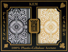KEM Black Gold Bridge Regular Index Playing Cards 100% Plastic Casino Narrow