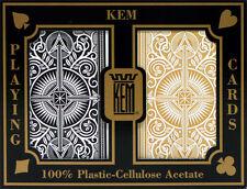 KEM Black Gold Bridge Regular Index Playing Cards 100% Plastic Casino Narrow