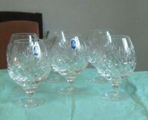 6 Royal Doulton, cut glass crystal brandy glasses, signed