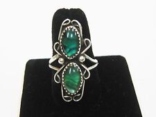 STERLING SILVER/ RING WITH GREEN PLASTIC STONES SIZE 7 3/4  SIGNED ''MP'' N331-B