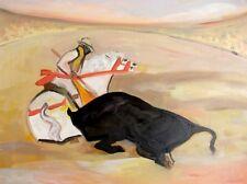 Carlo Massimo Franchi, Toro e cavaliere, olio su tela, 39.8x49.5 cm, firmato