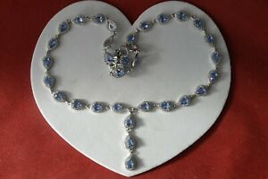 """925 SILVER NECKLACE WITH BLUE VIOLET TANZANITE & CZ. 18""""- 19"""".5 LONG IN GIFT BOX"""
