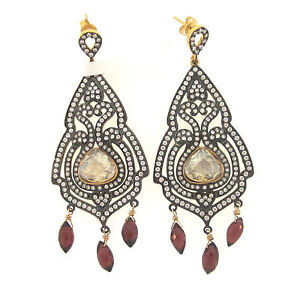 AZAARA Garnet Brioletet & Citrine Crystal Cubic Zirconia Chandelier Earrings