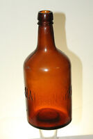 ANTIQUE SARATOGA NY HATHORN SPRINGS AMBER WATER BOTTLE 9 1/2''