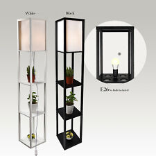 LED Floor Lamp Storage Shelf Standing Wood Light Adjustable Fabric Linen Shade
