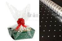 White Doted Clear Sea Through Cellophane Wrapping Gift Paper Plus Bow 30mm