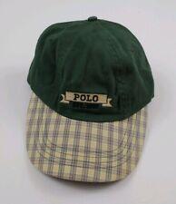 Vintage Polo Ralph Lauren Hat Plaid Bill Scroll Spellout 90s Rare USA Sport RL