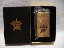 Vtg ZIPPO Marlboro LONGHORN Brass SLIM Lighter in Orig Box RCC Engraved unfired