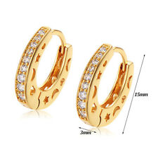 FIN003-18K Gold Plated Clear Star Moon Heart Hoop Earrings Womens Vintage