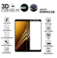 For Samsung Galaxy A8 (2018) 3D Curved Tempered Glass LCD Screen Protector Black