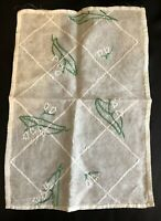 Vintage Table Mat Silk Gauze Embroidered 1930s 1940s Retro Floral Design Old