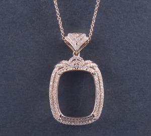 Natural Diamonds Halo Pendant Semi Mount Cushion 20×15mm 14K Rose Gold 36.5mm