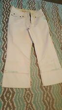 WHITE RIPPED JEANS Skinny Denim Stretch Destroyed Distressed Sexy size 10