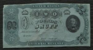 Snuff Taxpaid revenue stamp Springer TE169A