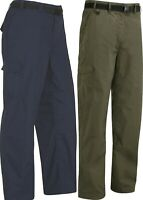 MENS WALKING TROUSER HIKING WATER RISISTANT CARGO NAVY BROWN BELT INCL D-RING