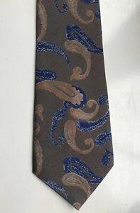 Silk Neck Tie Men's Neck Tie Green Brown Blue Rust Paisley Design 100% Silk New