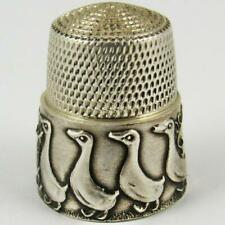 VINTAGE SIMONS BROTHERS CAROL WINANDY GEESE STERLING SILVER SEWING THIMBLE
