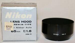 Nikon HN-7 Metal Screw In Lens Hood For 85mm f/1.8 + 80-200mm f/4.5 Mint In Box