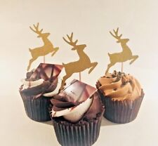 12 GOLD GLITTER REINDEER CHRISTMAS CUPCAKE TOPPERS PICKS