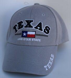 Texas Lone Star State Baseball Cap Hat One Size Strapback 100% Acrylic Gray